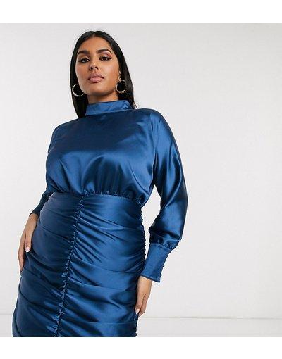 Blu navy donna Vestito corto accollato blu navy a maniche lunghe con arricciatura - Club L London Plus