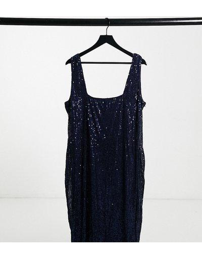 Blu navy donna Vestito longuette con scollo quadrato blu navy con paillettes - Club L London Plus