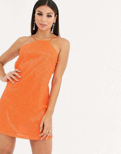 Arancione donna Vestitino di paillettes con cut - out e spalline sul retro - Club L London - Arancione