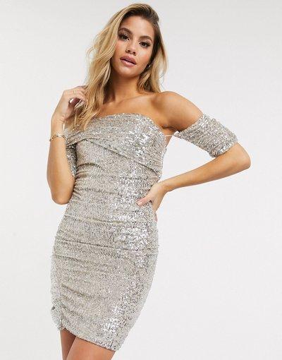 Argento donna Vestito corto con spalle scivolate e scollo alla Bardot con paillettes argento - Club L London