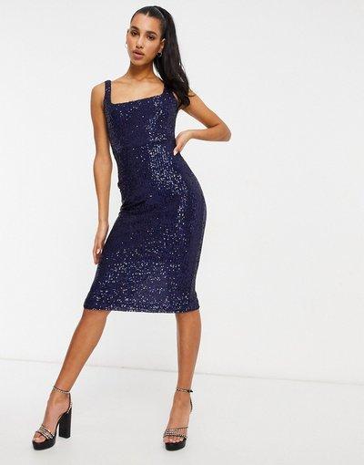 Blu navy donna Vestito longuette con scollo quadrato blu navy con paillettes - Club L London