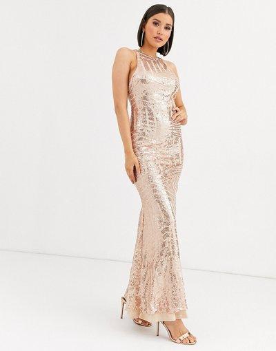 Oro donna Vestito lungo a sirena con cut - out e paillettes - Club L London - Oro