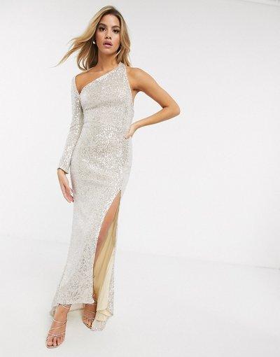 Argento donna Vestito lungo monosaplla in raso argento con spacco - Club L London