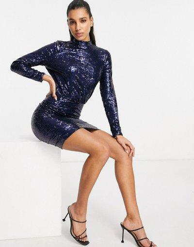 Blu navy donna Vestito corto accollato con paillettes, colore blu navy - Club L