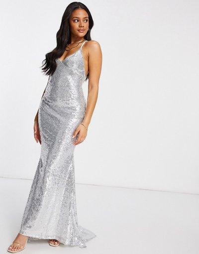Argento donna Vestito lungo con spalline sottili scoperto sulla schiena con fondo a coda di rondine argento con paillettes - Club L