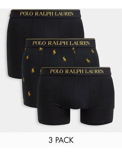 Intimo Nero uomo Confezione da 3 paia di boxer aderenti, colore nero/oro con logo ripetuto - Collaborazione esclusiva Polo Ralph Lauren x ASOS