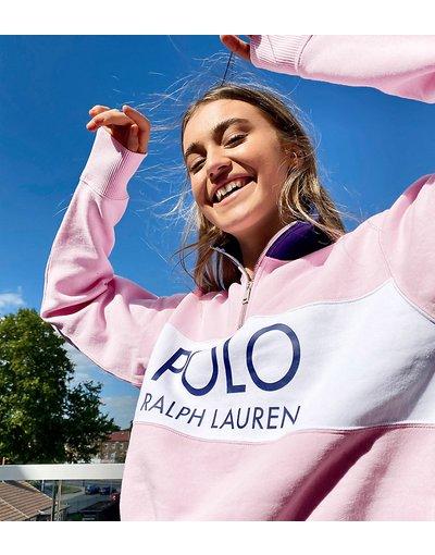 Sbirciare Veloce come un lampo azione  Collaborazione esclusiva Polo Ralph Lauren x Asos - Maglione rosa con logo  e zip corta - donna
