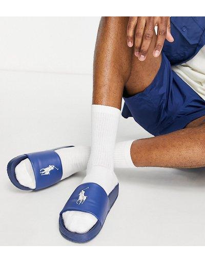 Novita Blu navy uomo Collaborazione esclusiva Polo Ralph Lauren x ASOS - Sliders blu navy con logo con pony crema