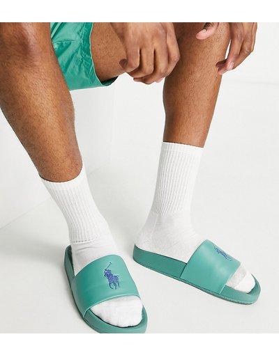 Novita Verde uomo Collaborazione esclusiva Polo Ralph Lauren x ASOS - Sliders verdi con logo con pony blu navy - Verde