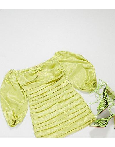 Verde donna Vestito corto in jacquard arricciato oliva con scollo Bardot e maniche voluminose - Collective the Label Petite - Verde