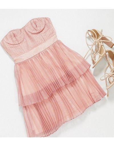 Oro donna Vestito corto metallizzato a strati oro rosa - Collective the Label Petite