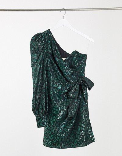 Verde donna Vestito corto monospalla allacciato in vita in organza verde smeraldo leopardato - Collective The Label