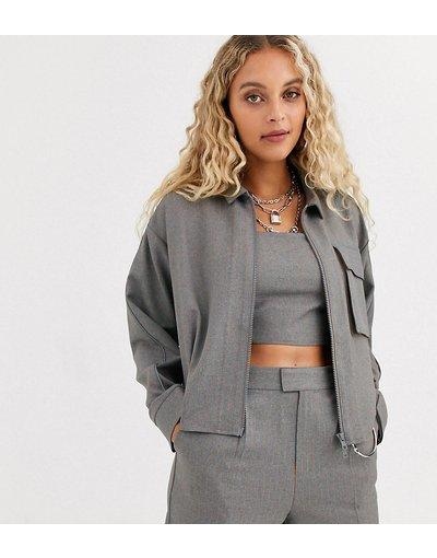 Camicia Grigio donna Camicia gessata fluo con zip bidirezionale - COLLUSION - Grigio