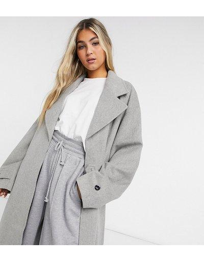 Grigio donna Cappotto lungo in tessuto spazzolato effetto lana grigio chiaro - COLLUSION