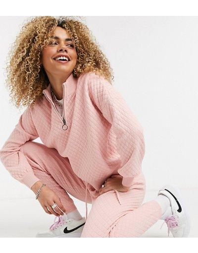 Beige donna Maglione trapuntato in maglia rosa chiaro in coordinato - COLLUSION - Beige