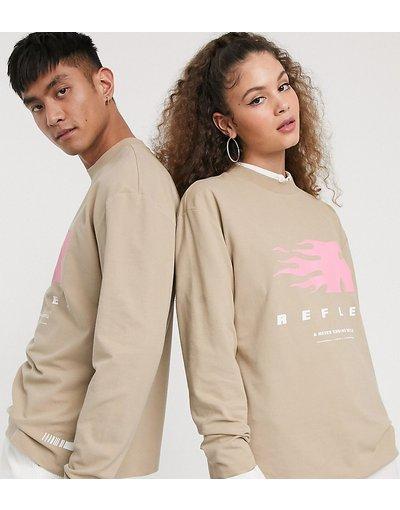 T-shirt Pietra donna shirt unisex a maniche lunghe con stampa in piqué slavato - COLLUSION - Reflex - Pietra - T