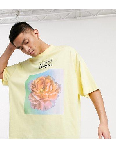 T-shirt Giallo uomo shirt oversize con stampa gialla - COLLUSION - Giallo - T