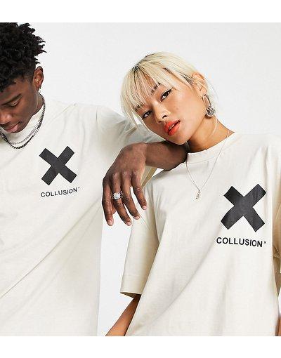 T-shirt Bianco donna shirt in cotone organico con logo bianco sporco - COLLUSION Unisex - T