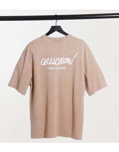 T-shirt Multicolore donna shirt oversize con logo stampato in tessuto piqué slavato - COLLUSION Unisex - Multicolore - T