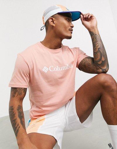 T-shirt Rosa uomo shirt basic corallo con logo - Columbia - CSC - Rosa - T