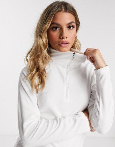 Bianco donna Pile bianco con zip corta - Columbia - Glacial
