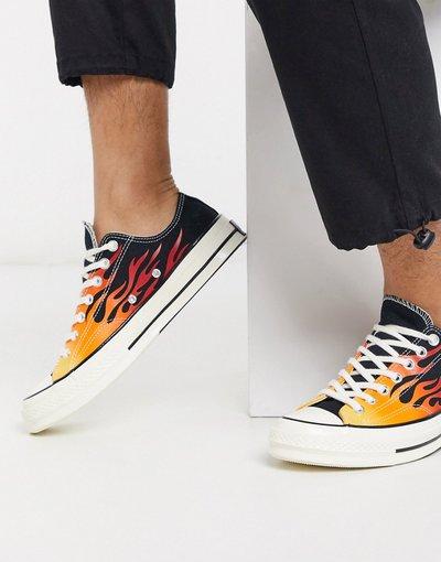 Stivali Nero uomo Sneakers nere con fiamme - Archive Chuck 70 Ox - Converse - Nero
