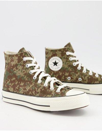 Stivali Marrone uomo Sneakers alte color sabbia con stampa mimetica effetto digitale - Chuck 70 Hi Alt Exploration - Converse - Marrone