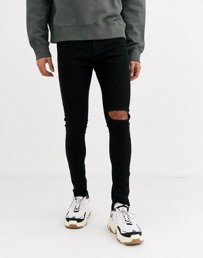 Jeans Nero uomo Jeans skinny essenziali neri con ginocchia strappate - Criminal Damage - Nero