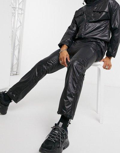 Pantalone Nero uomo Joggers multitasche in nylon neri - Criminal Damage - Nero