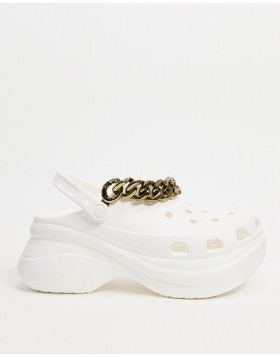 Sandali Bianco uomo Scarpe bianche con plateau e catena - Crocs - Bianco - Bae
