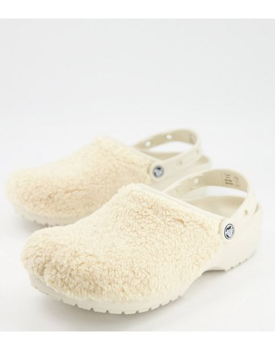 Sandali Beige uomo Zoccoli in pelliccia sintetica color crema - Originals - Crocs - Beige