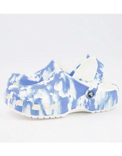 Sandali Blu uomo Scarpe classiche con stampa nuvole, colore blu e bianco - Crocs