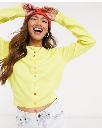 Giallo donna Cardigan anni'90 in maglia a coste con bottoni a stelle - Daisy Street - Giallo