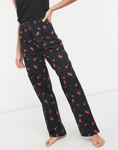 Pigiami Nero donna Pantaloni del pigiama con stampa di ciliegie stile anni'90 - Daisy Street - Nero