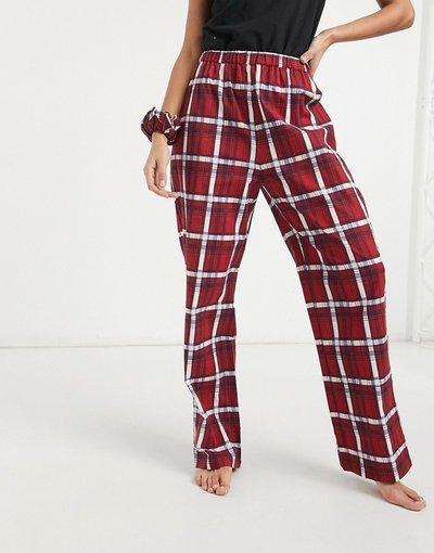 Pigiami Rosso donna Pantaloni pigiama a quadri con elastico per capelli - Daisy Street - Rosso