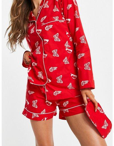 Pigiami Rosso donna Pigiama con camicia a maniche lunghe, pantaloncini e mascherina da notte con stampa con farfalle - Daisy Street - Rosso