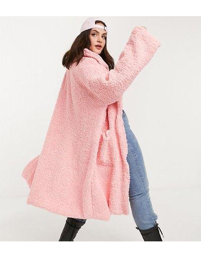 Rosa donna Cappotto lungo oversize in pelliccia effetto peluche - Daisy Street Plus - Rosa
