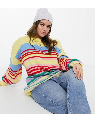 Multicolore donna Maglione comodo a righe arcobaleno - Daisy Street Plus - Multicolore