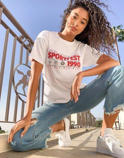 T-shirt Bianco donna shirt boyfriend comoda con stampa vintage sportiva - Daisy Street - Bianco - T