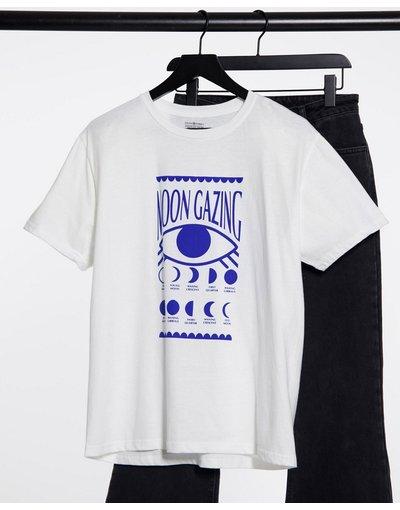T-shirt Bianco donna shirt comoda con stampaMoon gazing- Daisy Street - Bianco - T