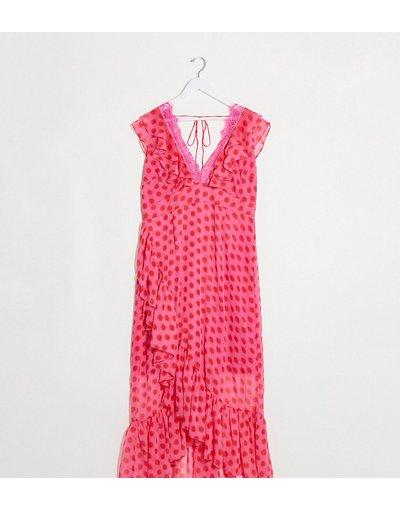 Eleganti lunghi Rosa donna Vestito lungo a portafoglio con scollo profondo rosa e rosso a pois - Dark Pink Plus