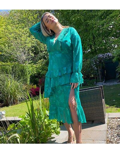 Verde donna Vestito lungo con scollo profondo e dettagli in pizzo verde - Dark Pink Plus