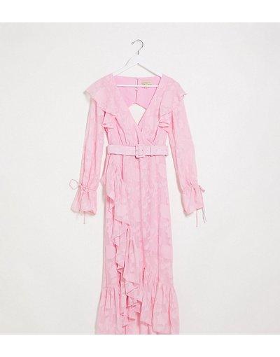 Eleganti lunghi Rosa donna Vestito lungo a portafoglio con cintura rosa dévoré a fiori - Dark Pink