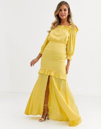 Giallo donna Vestito lungo a strati giallo oro con spalline annodate - Dark Pink