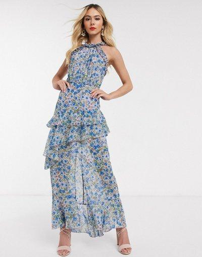 Blu donna Vestito lungo accollato blu a fiori - Dark Pink