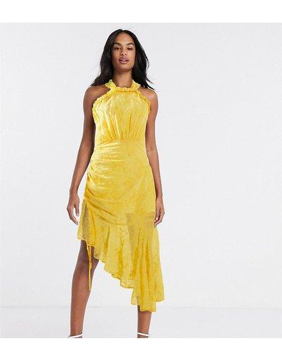Giallo donna Vestito midi allacciato al collo arricciato giallo dorato - Dark Pink