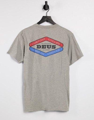 T-shirt Grigio uomo shirt grigio mélange con stampa sul retro e logo - Deus Ex Machina - T