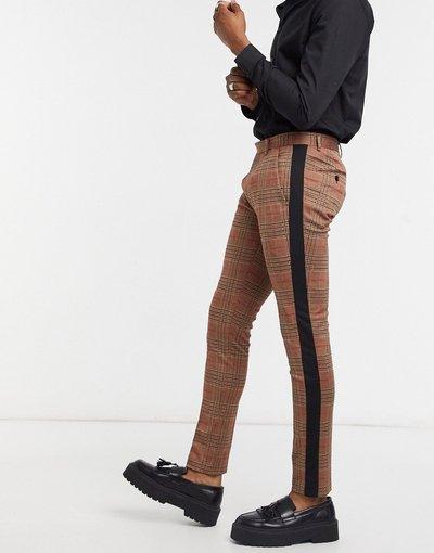 Pantalone Rosso uomo Pantaloni skinny a quadri con riga laterale - Devils Advocate - Rosso