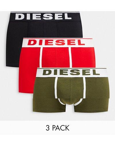 Intimo Multicolore uomo Confezione da 3 paia di boxer aderenti, colore kaki, nero e rosso - Multicolore - Diesel