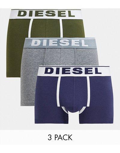 Intimo Multicolore uomo Confezione da 3 paia di boxer aderenti in kaki grigio e blu - Multicolore - Diesel